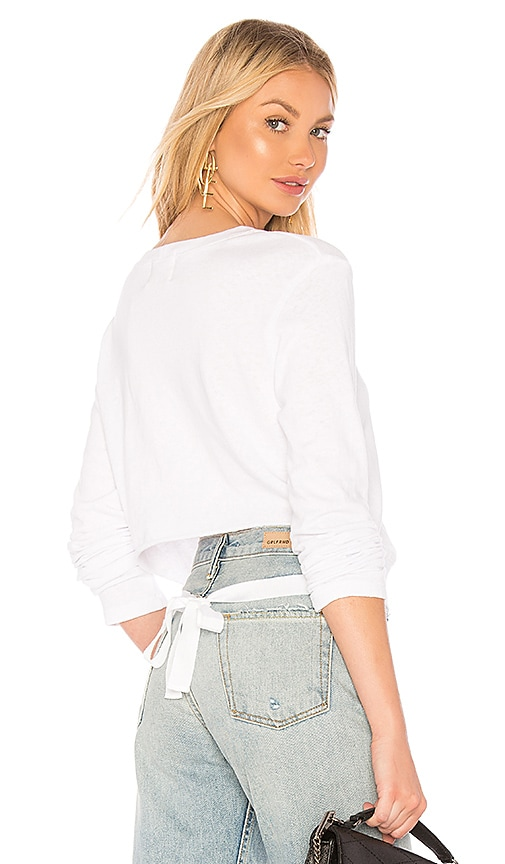 MONROW Open Tie Back Top in White