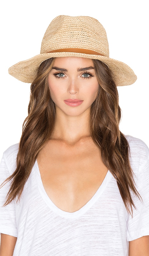 Hat Attack Raffia Crochet Medium Brim Hat in Tan