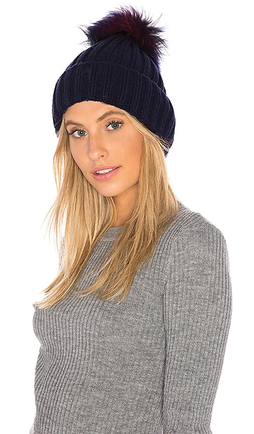 607082055c89aa Hat Attack Chunky Rib Beanie with Snap Off Faux Fur Pom in Navy ...