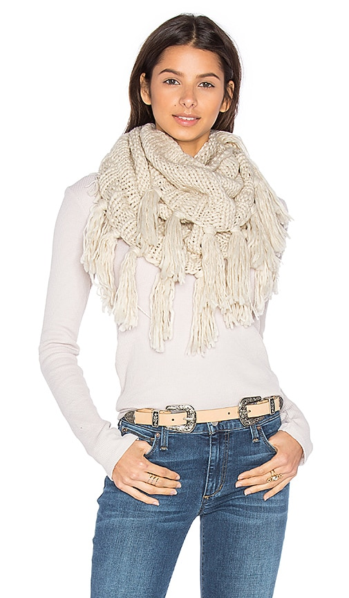 Hat Attack Fringe Double Loop Scarf in Beige