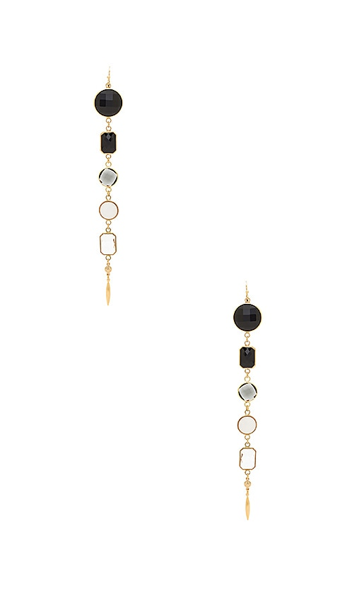 Haus Of Topper Black Ombre Earrings in Metallic Gold