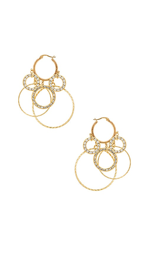 Haus Of Topper Drop Circles Earrings in Metallic Gold