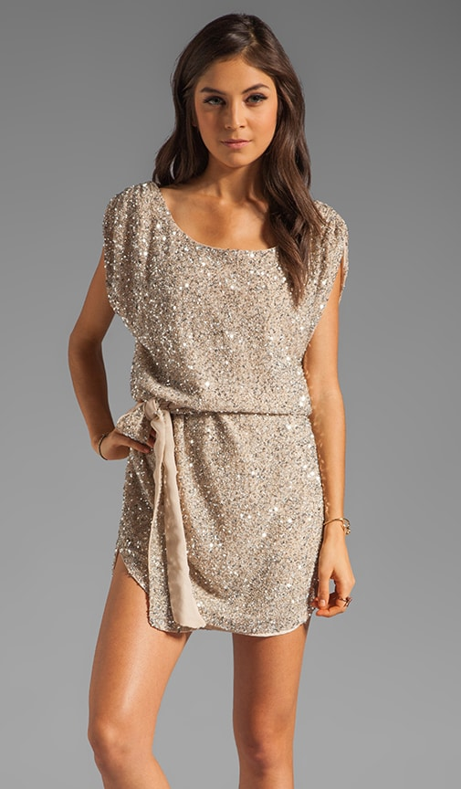 Junk Sequins Cowl Tank Dress with Self Belt