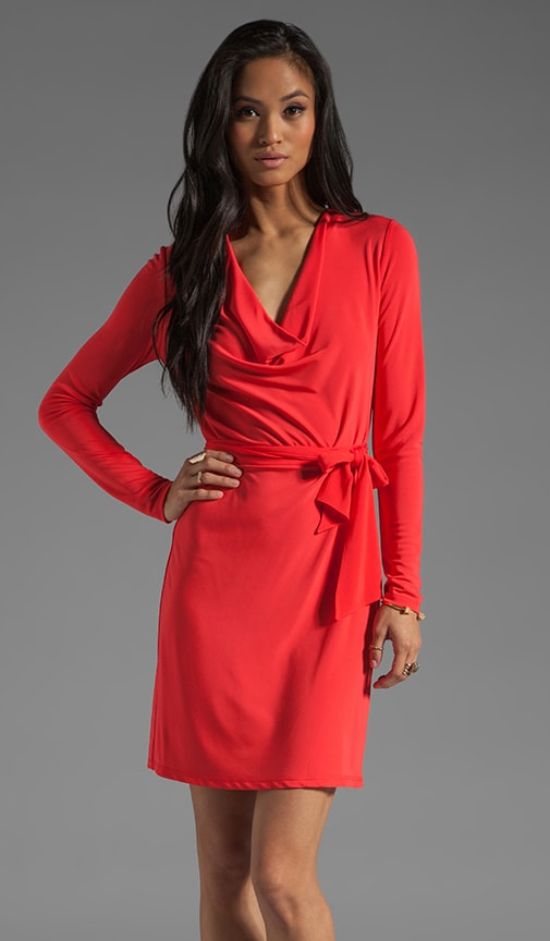 Long Sleeve Cowl Dress with Self Belt