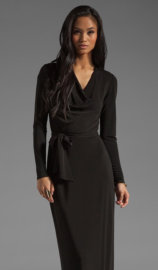 Long Sleeve Cowl Gown with Self Belt