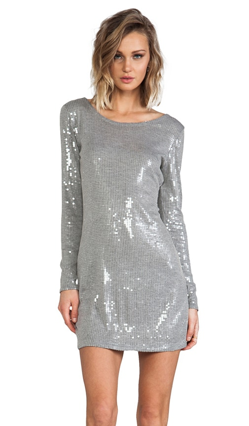 All Over Clear Sequins Long Sleeve Mini Dress