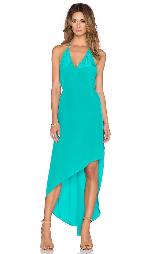 Haute Hippie Deep V-Neck Halter Maxi Dress in Aqua