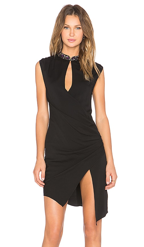 Haute Hippie Embellished Neck Wrap Front Dress in Black