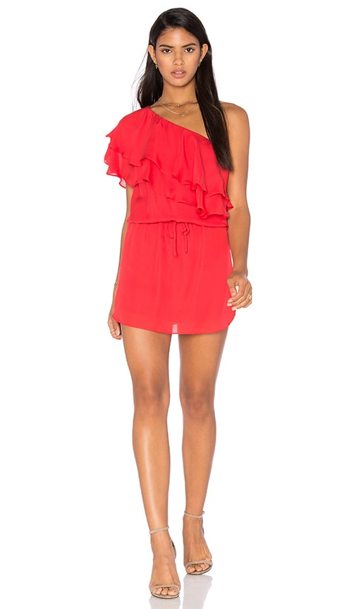 Haute Hippie One Shoulder Ruffle Dress in Red
