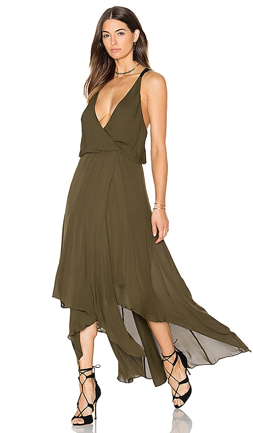 Haute Hippie Chiffon Godets Leather Wrap Dress in Olive