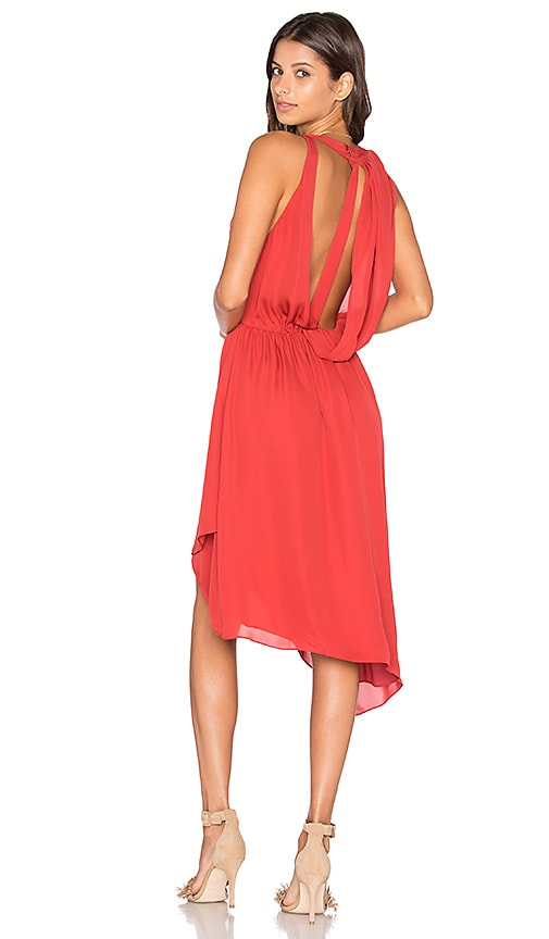 Haute Hippie Sleeveless Handkerchief Wrap Mini Dress in Red