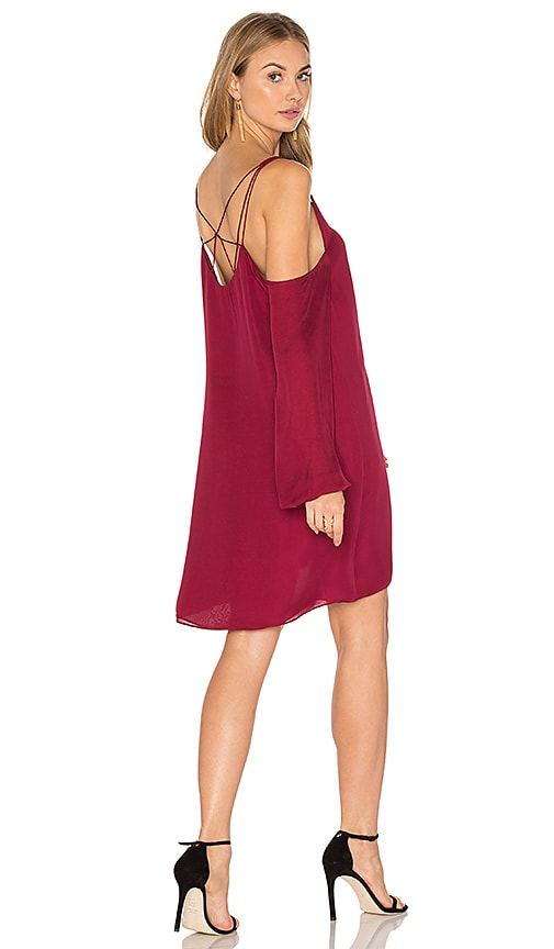 Haute Hippie Crossroads Cold Shoulder Dress in Burgundy