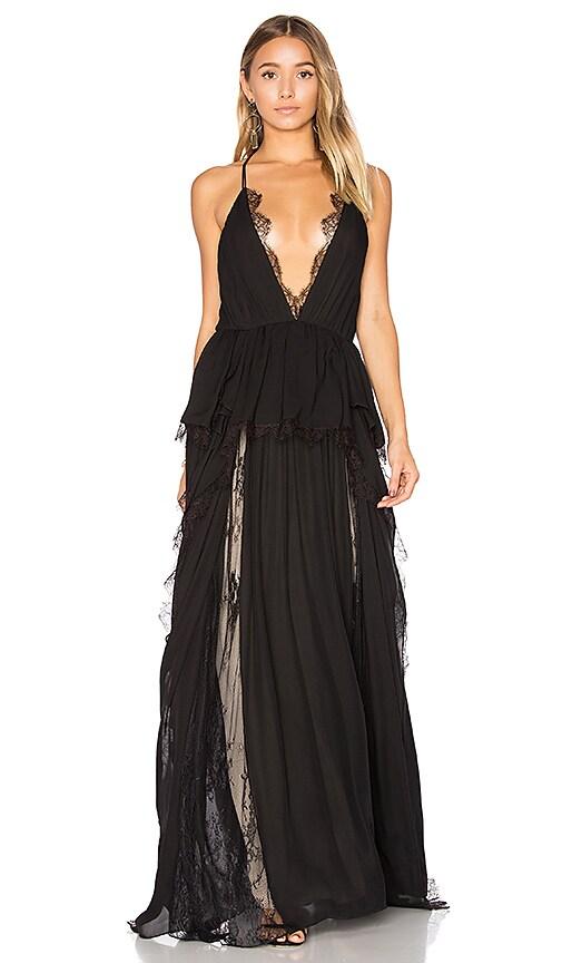 Haute Hippie Waterfall Gown in Black | REVOLVE