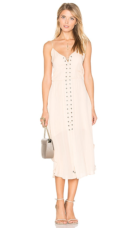 Haute Hippie Front Lace Up Dress in Blush