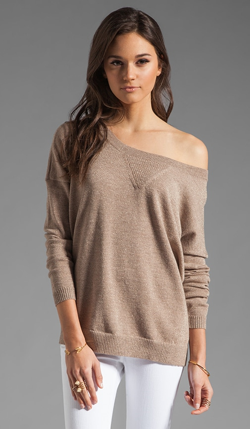 Lurex Off the Shoulder Sweatshirt