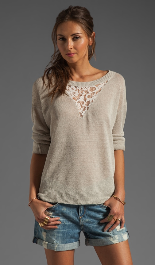Pullover Sweatshirt with Lace Inset
