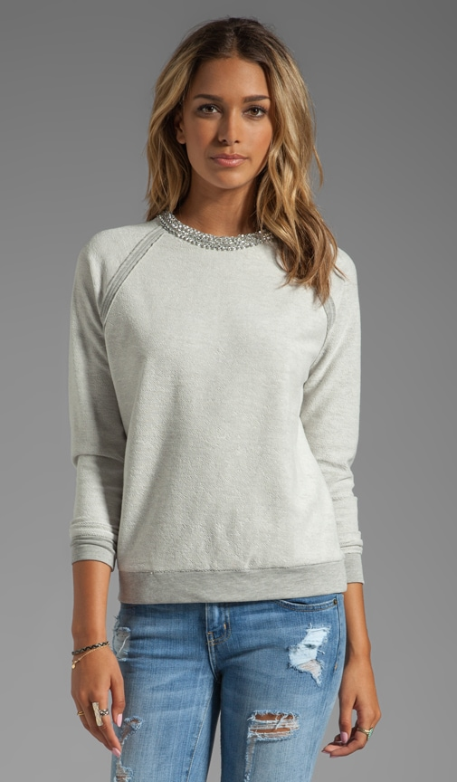 Sweatshirt with Crystal Herringbone Neckline