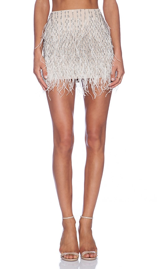 Ponte Embellished Mini Skirt with Feathers