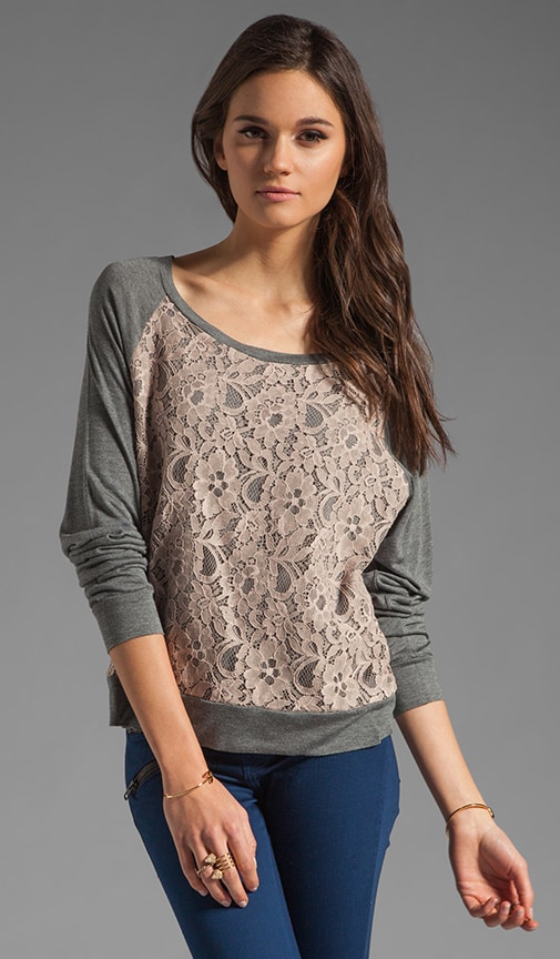 Sweatshirt with Lace Front