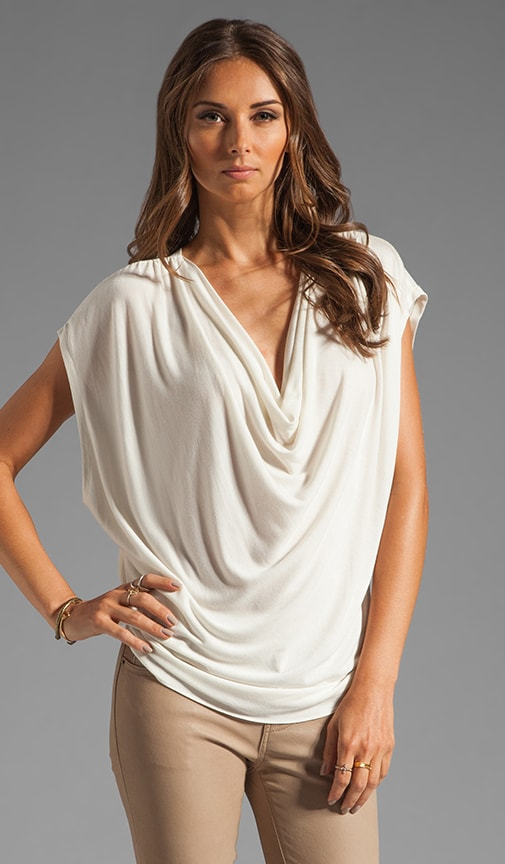 Drape Front Tee with Silk Back