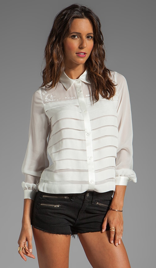 Blouse with Embroidery and Pleats