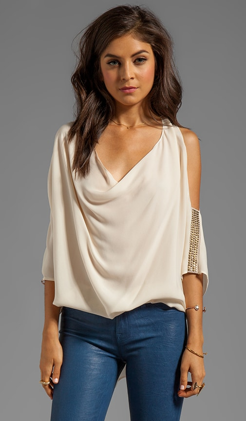 Cowl Blouse with Studded Suede Sleeve