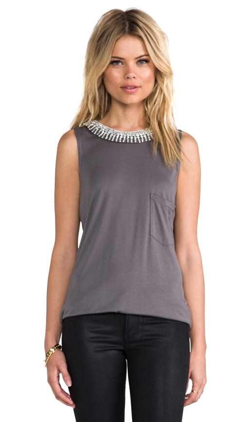Muscle Tank with Embellished Neck