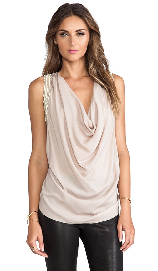 Embellished Muscle Cowl Neck Tank