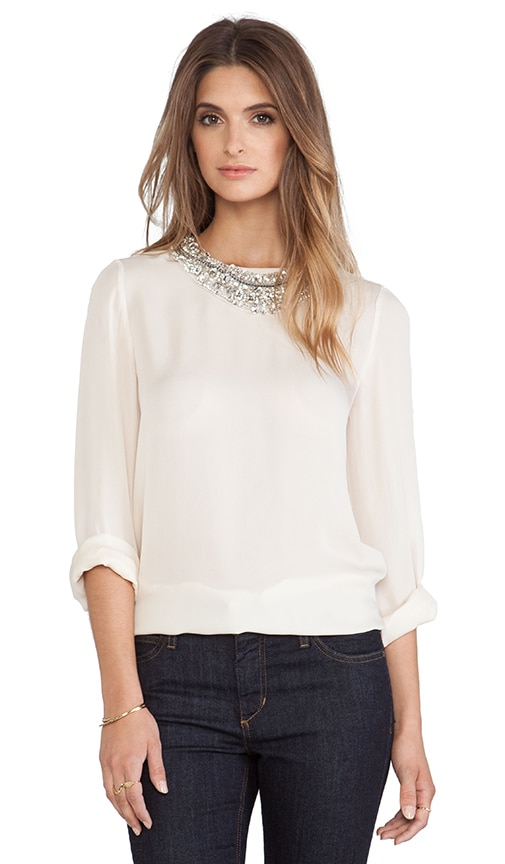 Long Sleeve Blouse with Detachable Neck Piece