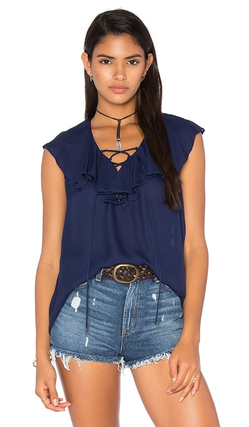 Haute Hippie Lace Up Front Ruffle Blouse in Midnight