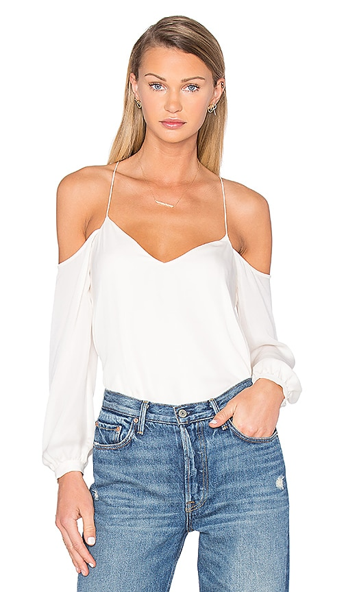 Haute Hippie Long Sleeve Cold Shoulder Blouse in Ivory