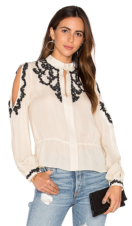 Haute Hippie Lace Applique Cold Shoulder Blouse in Beige