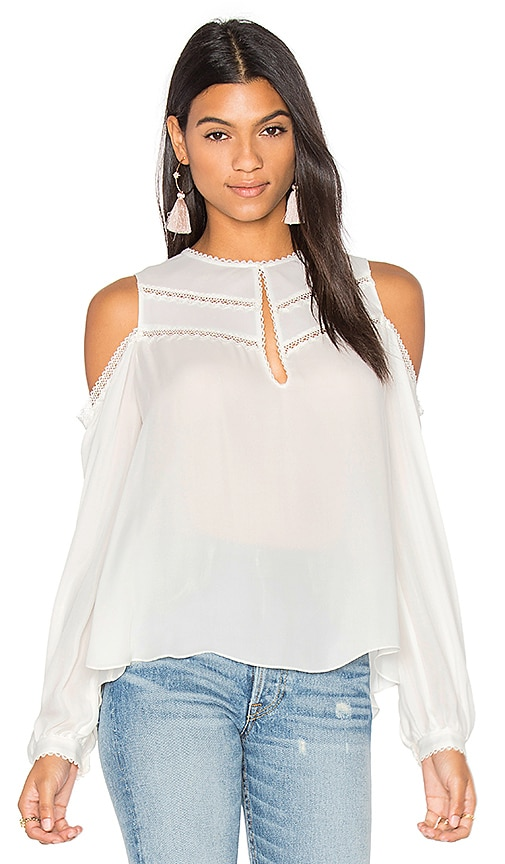 Haute Hippie The Fiona Cold Shoulder Blouse in White