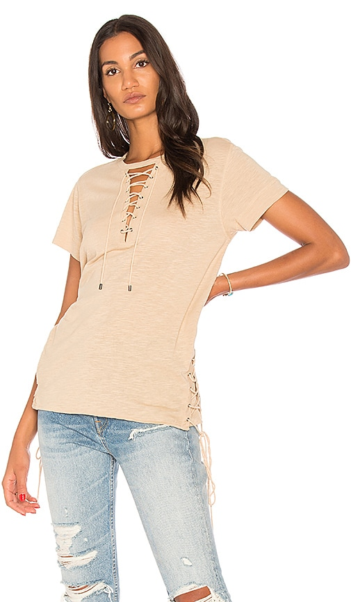 Haute Hippie Haute Lace Up Tee in Beige