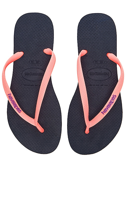 Havaianas Slim Logo Pop-Up Sandal in Navy