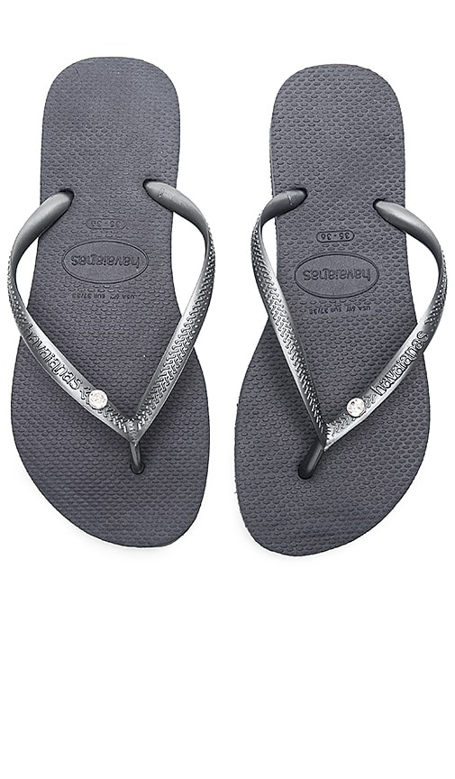 e19d828bb Havaianas Slim Crystal Glamour SW Sandal in Steel Grey