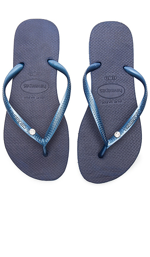 Havaianas Slim Crystal Glamour SW Sandal in Navy