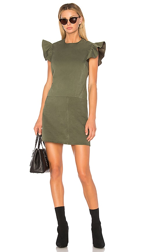 Harvey Faircloth Angel Sleeve Sheath Dress in Olive