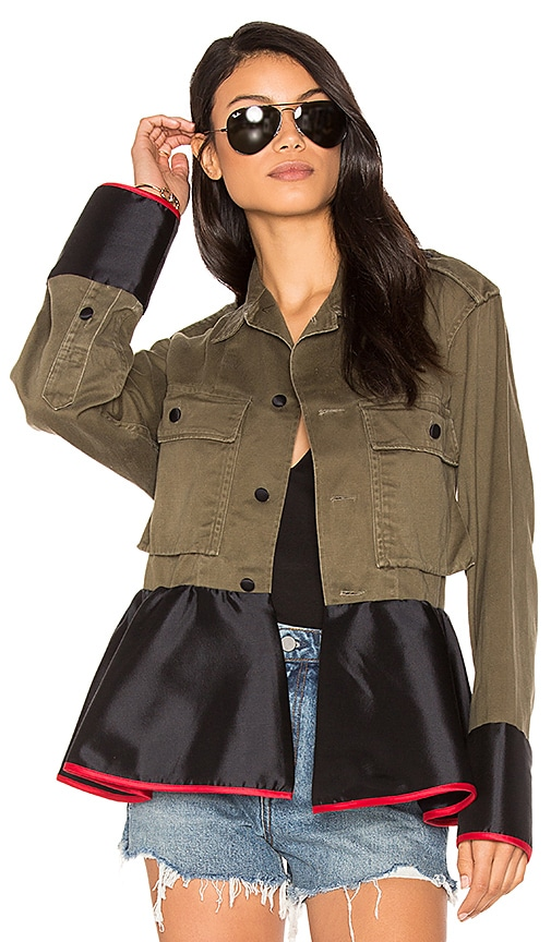 Harvey Faircloth Drab Field Peplum Jacket in Green