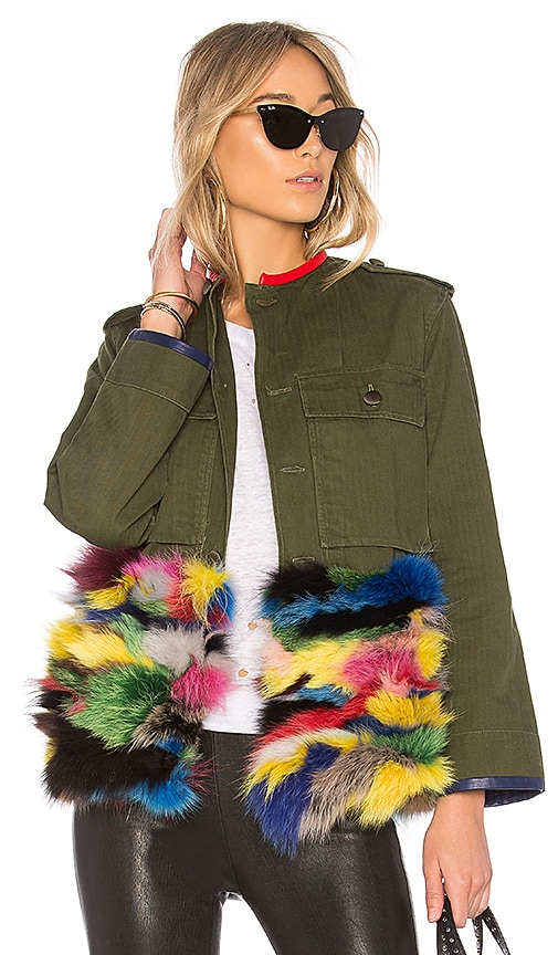 Harvey Faircloth OD Field Jacket With Multicolor Fox Fur Panel in Olive