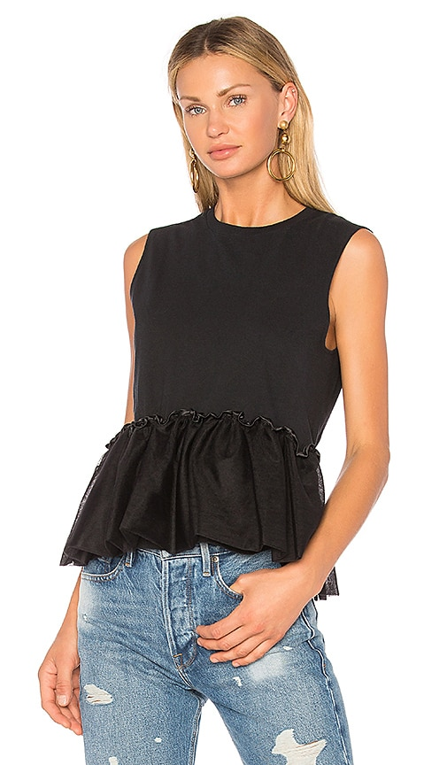 Harvey Faircloth Peplum Top in Black