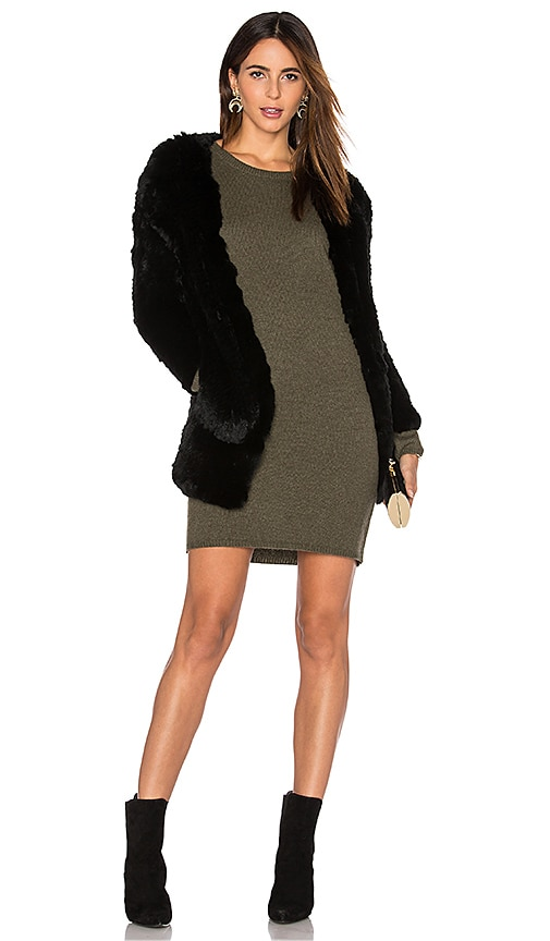 H Brand Huxley Knitted Stretch Rabbit Fur Long Cardigan in Black