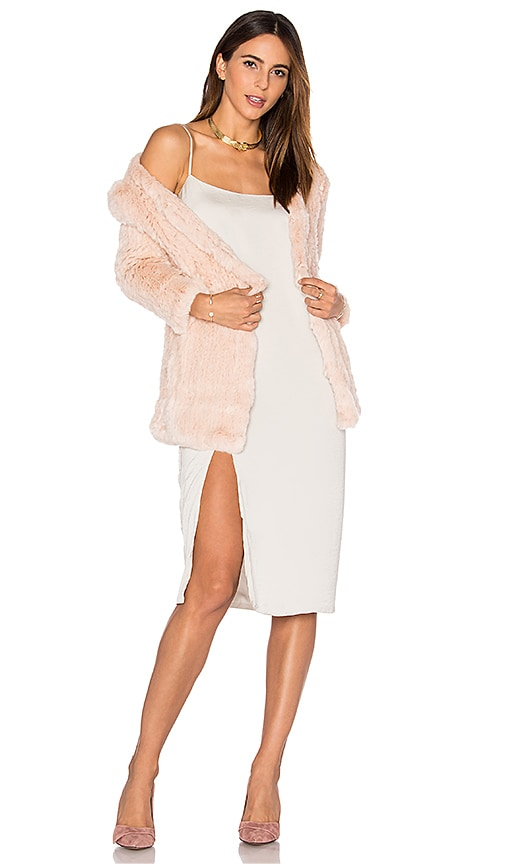H Brand Huxley Knitted Stretch Rabbit Fur Long Cardigan in Blush