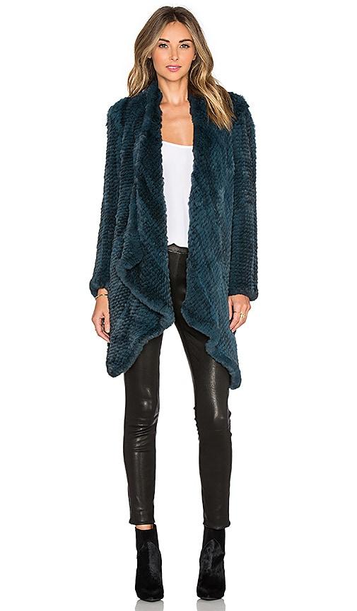 H Brand Ashleigh Rabbit Fur Coat in Teal