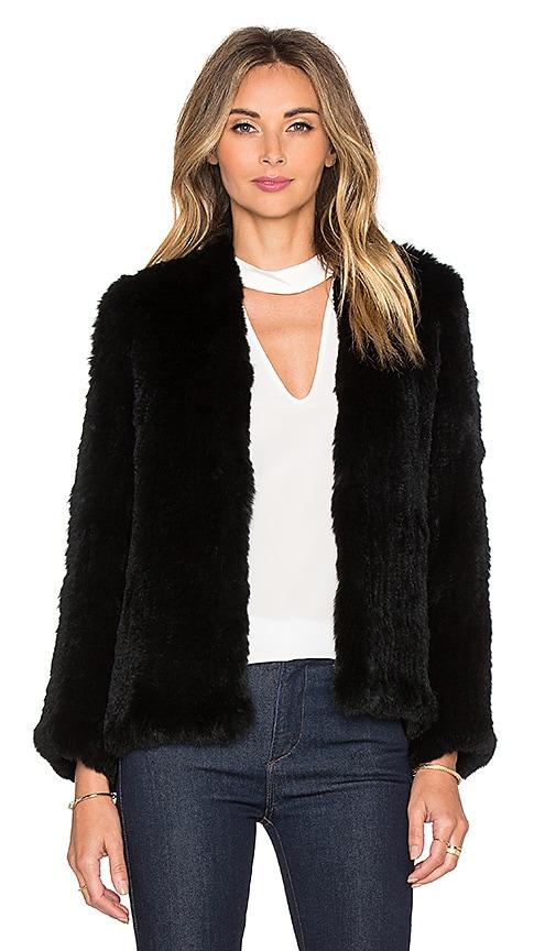 H Brand Emily Rabbit Fur Jacket in Black
