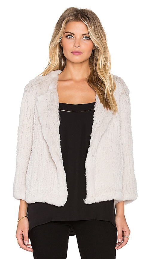 H Brand Lola Rabbit Fur Jacket in Chalk
