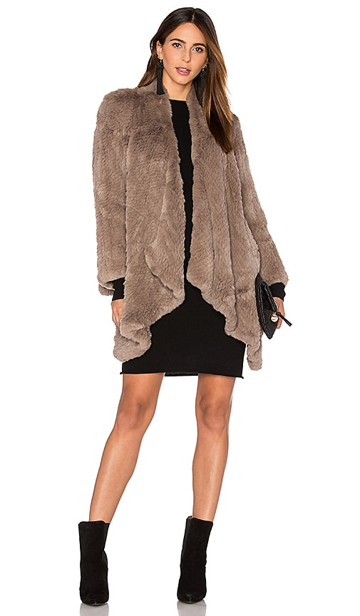 H Brand Hand Knitted Rabbit Fur Coat in Brown