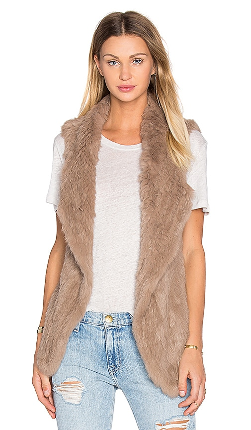 heartLoom Michi Rabbit Fur Vest in Taupe