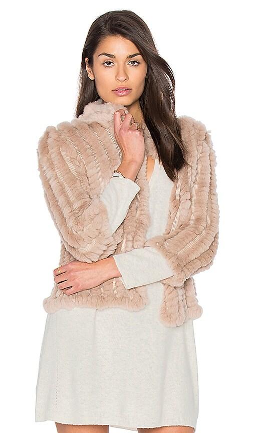 HEARTLOOM Rosa Rabbit Fur Jacket in Beige