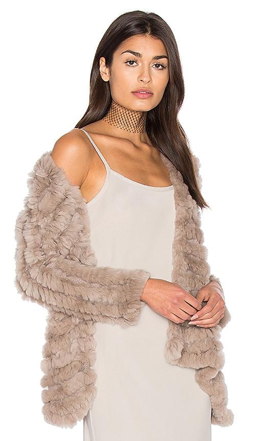 HEARTLOOM Tilda Rabbit Fur Jacket in Taupe